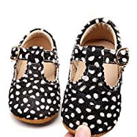 HONGTEYA Leather Leopard Baby Shoes Hard Sole T-Strap Boys Girls Moccasins for Infants Babies Toddlers (6-12 Months, Leopard1)
