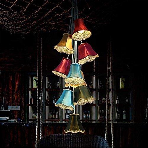 PLLP Innenbeleuchtung Kronleuchter Befestigungen Stoff Kronleuchter Moderne Kreative zeitgenössische Ländliche Einfache Farbe Bell Modellierung Pendelleuchte Licht 9 Lichter für Kinder 'S (Zeitgenössische Bell)