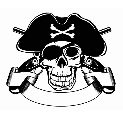 Jtxqe Schädel Halloween Piratenpistole Aufkleber Punk Tod Aufkleber Teufel Poster Name Autofenster Kunst Wandtattoos Wanddekor Wandaufkleber 58X67 Cm
