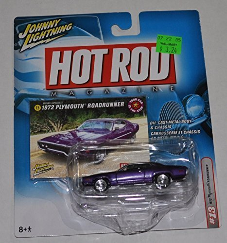 1972-plymouth-road-runner-purple-hot-rod-magazine-johnny-lightning-diecast-car-by-playing-mantis