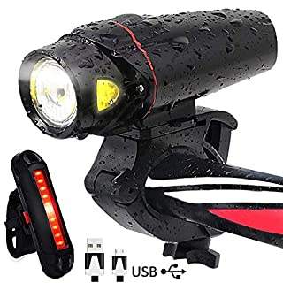 AOMEES LED Bike Lights, LED Bike Light set Torch Front Headlight & Tail Light USB Rechargeable
