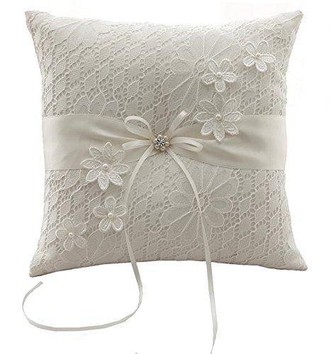 Cojín para enlace matrimonial de flores con lazo 21cm * 21cm