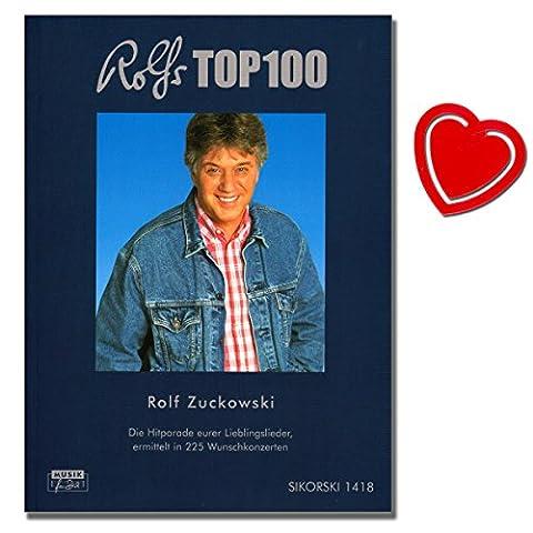 Rolfs Top 100 - 100 meistgewünschten Lieder der Zuhörer von 225 Konzerten seit 2004 ( In der Weihnachtsbäckerei ; Stups, der kleine Osterhase uvm ... ) - Liederbuch mit bunter herzförmiger Notenklammer