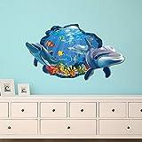 decalmile Wandtattoo Delphin 3D Fenster Wandsticker Unterwasserwelt Fische Wandaufkleber Babyzimmer Kinderzimmer Schlafzimmer Badezimmer Wanddeko