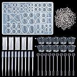 Molde de Joyas Silicona 141 PC, 1 Forma Molde Silicona+ 100 piezas de tornillo Pins la Epoxy Resina Moldes,tazas plásticas disponibles,agitadores,cuentagotas, guantes disponibles(141-Heart)
