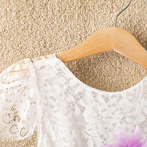 Livoral Kleinkind Baby Kind Mädchen Prinsess Kleid Lace Ruffle Patchwork Tüll Kleid(Lila,140)