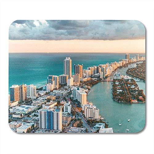 Mauspads Blaue Skyline-Hubschrauber-Ansicht von Luftstadt Mousepad South Beach Miamis Florida für Laptop, Tischrechner-Zusätze Mini Office Supplies Mouse Mats
