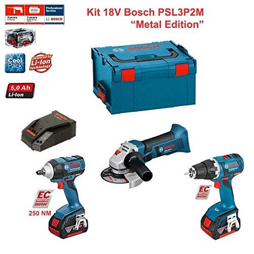 Preisvergleich Produktbild Kit Bosch PSL3P2M (GSR 18 V-EC + GDS 18 V-EC 250 + GWS 18-125 V-LI + Ladegerät AL1860CV + 2 Akkus 5,0 Ah + Koffer L-Boxx 238)