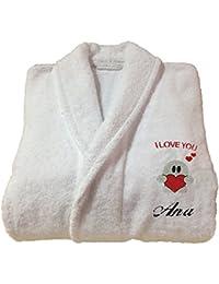 HIM/Her de regalo de San Valentín personalizado albornoz cuello Color Blanco albornoz, algodón felpa, Blanco, large