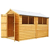 WALTONS EST. 1878 10x6 Wooden Garden Storage Shed, Overlap Construction Dip Treated with 10 Year Guarantee, With Windows, Double Door, Apex Roof, Roof Felt & Floor Included, (10 x 6 / 10Ft x 6Ft) 3-5 Day Delivery