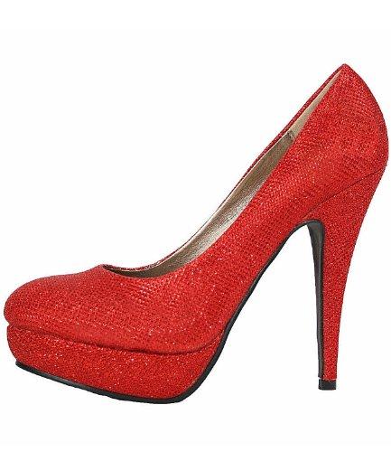 Schuhe Pumps Damen Plateau 10236 Rot