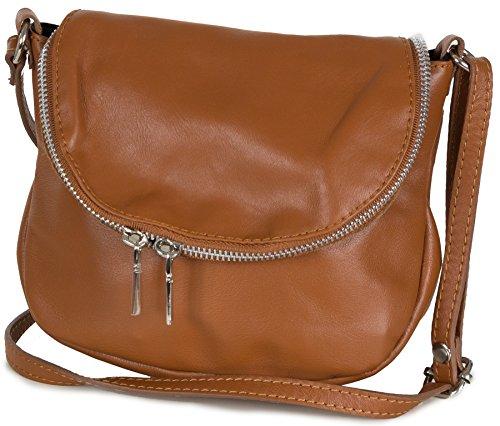 Taschenloft kleine Damen Leder Umhängetasche - Abendtasche Crossbody (20 x17 x7cm) Braun (Leder Italienische Handtasche Braune)