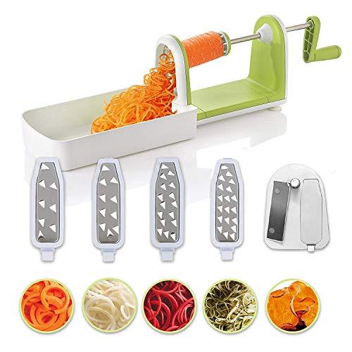 Cortador de verduras en espiral compacto Twinzee - 5 cuchillas fácilmente intercambiables...
