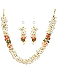 Classique Designer Jewellery Silver Alloy with Gold Plated Button Pearl Necklace Set for Women (CP216)