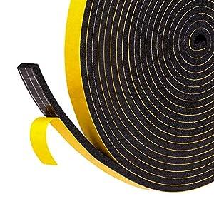 Dichtungsband für Türen Fenster 6mm(B) x3mm(D) selbstklebendes Schaumstoffband Türdichtung Fenste, Gummidichtung für Kollision Siegel Schalldämmung Gesamtlänge 15m (3 Rollen je 5m lang) schwarz