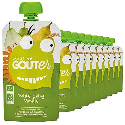 Good Goûter Poire Coing Vanille Bio, 10 Gourdes de 120 g