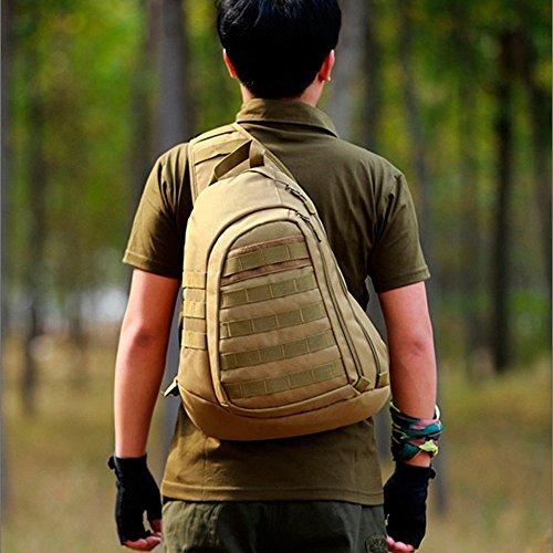 Freedom-vp Damen Herren Military Tactical Umhängetasche Brusttasche Rucksack mit einem Gurt Sling Bags einseitige Rucksack Crossbag Uni Rucksack für Radfahren Wandern Camping Freizeit Braun