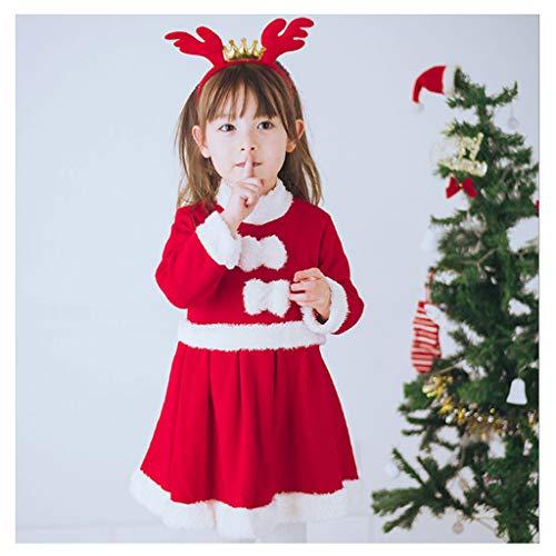 DONGBALA Mädchen Weihnachtskleid, Sankt-Klage Kinder Halloween Kostüm Für Partei-Abendkleid-Ausstattungs-Schule Spielt Karneval Enthalten Hat + Kleid + Stirnband Red,120cm (Girl's Jester Kostüm)