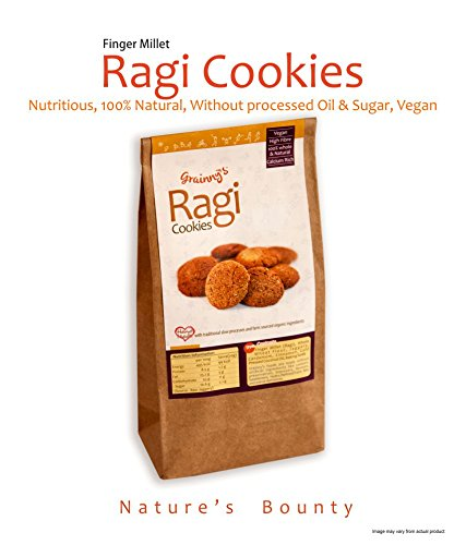 Grainny's Whole-Grain Organic Vegan Ragi Finger-Millet Cookies (360 gms.)  available at amazon for Rs.342
