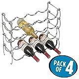 mDesign casier à bouteilles (lot de 4) – range bouteilles en métal pour jusqu'à 16 bouteilles – rangement parfait pour bouteille de vin et autres boissons dans le réfrigérateur – couleur argentée