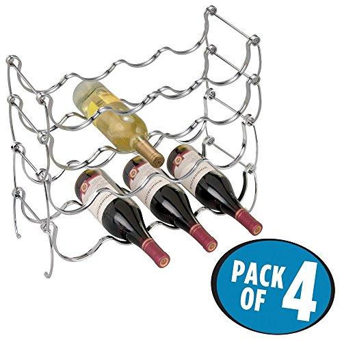 mDesign 4er-Set Flaschenhalter – Weinflaschenhalter aus Metall für max. 16 Flaschen – perfekte...