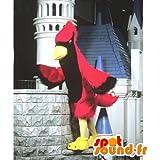 Mascota SpotSound Amazon personalizable pájaro rojo y negro. Águila de vestuario