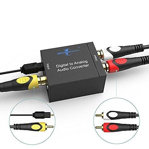 Goronya Digital-zu-Analog-Audio-Konverter, Spdif & Koaxiale Eingang R / L & 3,5 mm Stereo-Ausgang mit 1,5 M 5FT Glasfaser-Kabel