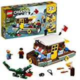 LEGO 31093 Creator 3in1 Riverside Houseboat Seaplane and Fishing Village Building Set Boat, Plane, 2 Minifigures and Crocodile Figure, Toys for Kids 7 Years Old and Older