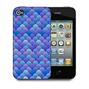 Snoogg Blue Waves In Japanese Style Designer Protective Back Case Cover For Apple Iphone 4