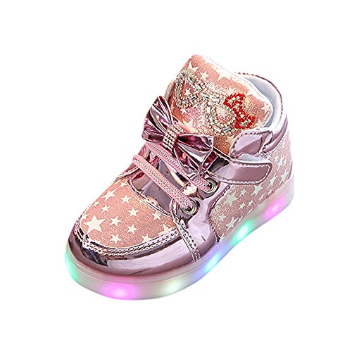 Fenverk Kinder Kind Star Bowknot Crystal Mesh Led Licht Leuchtend Turnschuhe Schuhe Baby Warm Winter Kleinkind BeiläUfig Mode Atmungsaktiv Stiefel(Rosa,27 EU) Double Strap Ankle Boot