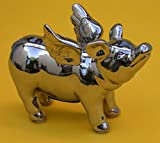 Spardose geflügeltes Schwein, Keramik silber, 16 x 12 cmcm