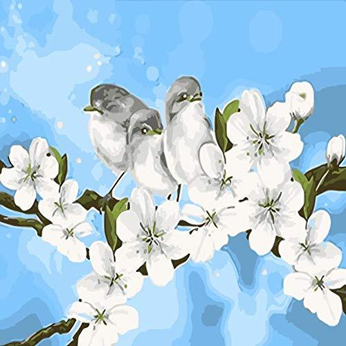 zlhcich Uccello di Ramo Uccello Dipinto ad Olio di ciliegio 40 * 50 cm