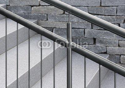 De acero inoxidable de la resistente carcasa para barandas en granito gris...