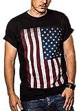 MAKAYA Camiseta con Bandera de Estados Unidos/Americana Negra XL
