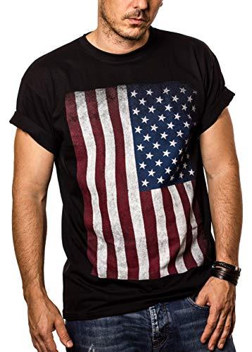 USA T-Shirt Herren AMERIKA FLAGGE schwarz Größe L