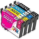 Starink Tintenpatronen Ersatz für Epson 502XL 502 XL Druckerpatronen Workforce WF-2860DWF WF-2865DWF WF2860DWF WF2865DWF Epson Expression Home XP-5105 XP-5100 XP5105 XP5100 4er-Pack