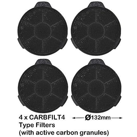 Spares2go Lot de 4 filtres en charbon pour grille d'aération