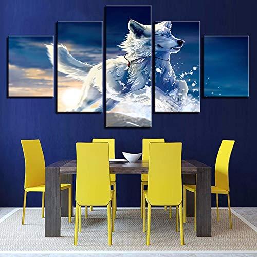 xzfddn Modular Paintings Home Decor HD Prints Leinwand 5 Stücke Tier Wolf Hund Bilder Snow Fox Poster Wohnzimmer Wandkunst