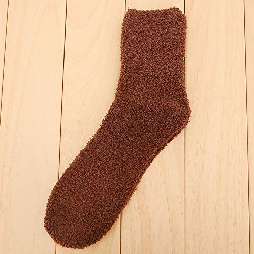 FERFERFERWON Chaussettes Herbst und Winter einfarbig Verdickung Haar Daunen Garn Herren Socken Socken Fußbodensocken Schlaf warme Socken - Herren-daunen Socken