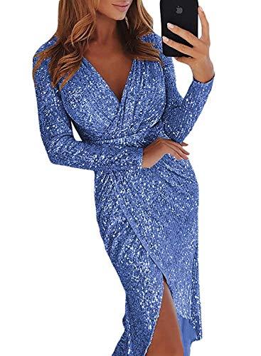 Jevvia Damen Sexy Tief V Ausschnitt Kleider Pailletten Glitzer Wrapped Langarm Elegant Abendkleider Partykleider Cocktailkleid für Hochzeit Festlich