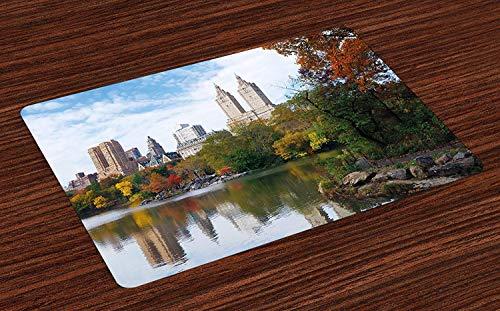 City Place Mats, Panorama de Manhattan Central Park en automne, vue panoramique sur le lac, reflets colorés des arbres, napperons en tissu lavables pour le décor de table de cuisine de la salle à mang