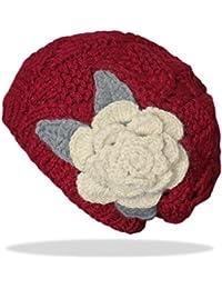 dy_mode Damen Strick Mütze mit Rosen-Blumen in viele Farben / Bunte Strickmütze Wintermütze - A039