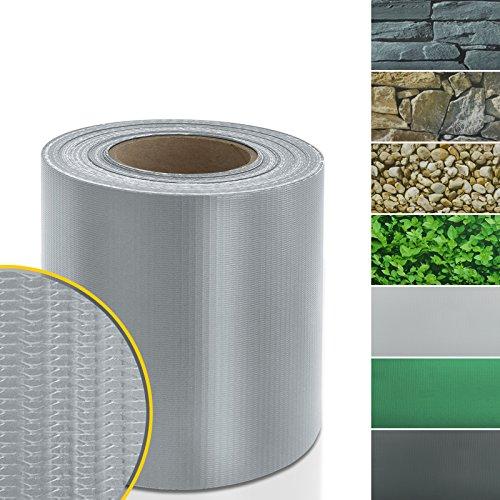 casa pura Sichtschutzstreifen PVC | Sichtschutzfolie Gartenzaun oder Balkon | inkl. 20 Befestigungsclips | für Einzel- und Doppelstabmatten geeignet | 19 cm x 35 m | einfarbig oder mit Motiv| Grau