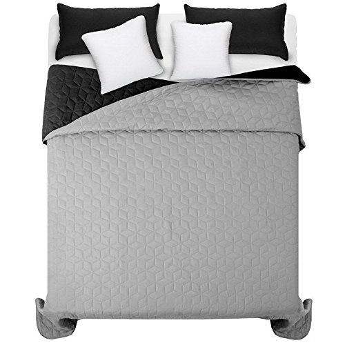 Amazinggirl Tagesdecke Schlafzimmer 220x240 Doppelbett gesteppt queensize Wohndecke zweiseitig Bettüberwurf Sofaüberwurf (Diamante Grau-Schwarz 220x240)