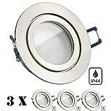 3er IP44 LED Einbaustrahler Set Silber gebürstet mit LED GU10