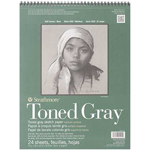 Strathmore Toned Gray - Papel de boceto, gris, 24 hojas