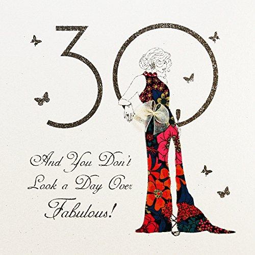 Luxus 30 Geburtstag Grußkarte Exquisite Designer Karte Stoff Applikation Lady Star 16x16cm (Karten Designer-geburtstag)