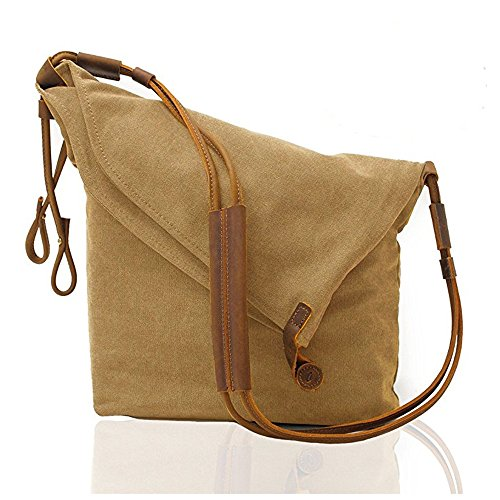 mcmola Unisex Vintage Canvas und Leder Schulter Crossbody Messenger Bag, (Laptop Distressed Messenger Leder)