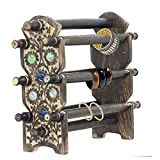 APKAMART Handcrafted Wooden Bangle Stand - 6 Rods - Handicraft Decorative Bangle & Bracelet Holder - Utility & Showpiece Article for Table Decor, Home Decor and Gifts