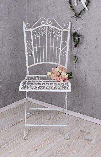 PALAZZO INT Vintage Garten Stuhl Shabby Chic Gartenstuhl Weiss Eisenstuhl
